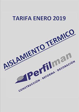 tarifas aislamiento termico 2019